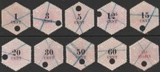 The Netherlands 1877 - telegraph stamps - NVPH TG1/6 up to and including TG8/11.