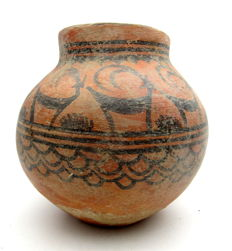 Indus Valley Painted Terracotta Jar depicting Deer -  140x130 mm