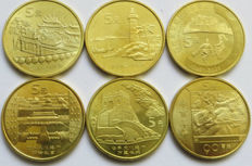 China, republic - 5 yuan 2001/2004 (6 different coins) - bronze