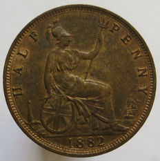 Great Britain - ½ Penny 1882 (Heaton) Victoria - copper