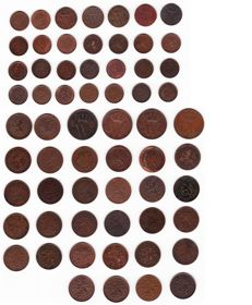 The Netherlands - Lot of ½ cents (28) and cents (34) 1851 to 1941 Willem III/Wilhelmina – 62 different coins/years – bronze and copper