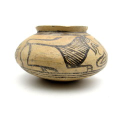 Indus Valley Painted Terracotta jar with Lion Motif - 152x80mm