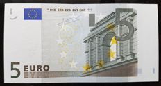 European Union - Ireland - 5 euros 2002 - TRICHET  signature - White stripe on obverse missing Hologram - Error Note