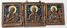 Russian Orthodox travel icon - bronze castings -The Deesis tier includes images of Christ, the Mother of God, John the Baptis ~ XX –XXI th century