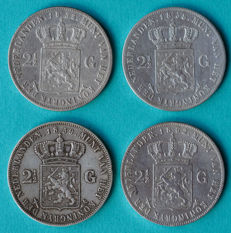 The Netherlands – 2½ guilder 1855, 1858, 1859 and 1862a Willem III – silver
