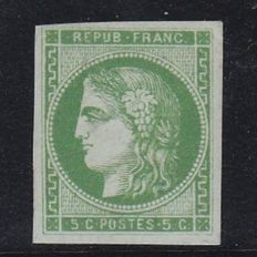 France 1870 - Bordeaux issue - Ceres 5c yellow green report 2 signed Calves - Yvert no. 42B