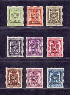 Belgium 1940 - complete Preo series 18 - OBP 437 through 445