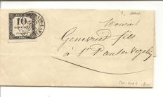 France 1859 - Used Postage due Yvert 1 on complete cover with expert's certificate