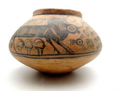 Indus Valley Painted Terracotta jar with Deer & Bull Motif - 190x122mm
