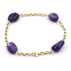Yellow gold 18 kt/750 - Bracelet - Oval amethyst - Bracelet length 19 cm