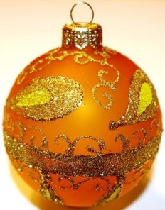 Hand-painted glass Christmas baubles, yellow, 180 pieces