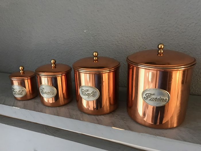 Four tinned copper food storage containers Catawiki