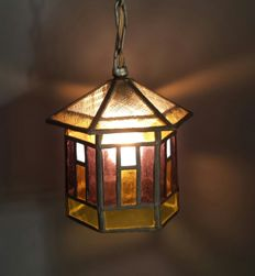 Stained glass lamp - 1950s