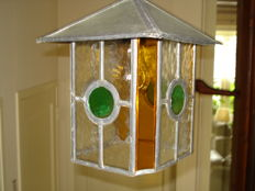 Stained glass hanging lamp - beautifully designed - 1940s - Netherlands
