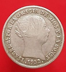 Spain - Isabel II - 1 Real in silver - Seville 1852 - 15 mm / 1.24 g