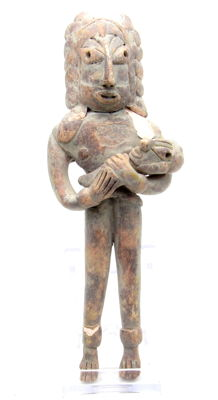 Indus Valley Terracotta Standing Male Idol  / Figurine with Baby - 157 mm