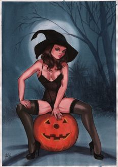 Gürsel, Gurçan - original colour drawing - Halloween Pin-up
