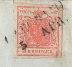 Austria/ Lombardy–Venetia 1850 -- 3 Kreutzer on a letter from Gargnano to Collebeato, cancelled R1-- Unificato No. 3
