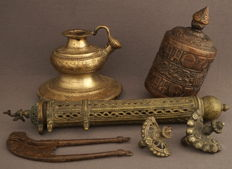 Collection of Buddhist, bronze items - middle to 2nd half 20th century
