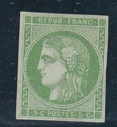France 1870 - Bordeaux issue - Ceres 5c yellow green report 2 - Yvert no 42B