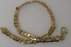 Figaro bracelet made of 585 / 14 kt yellow gold solid