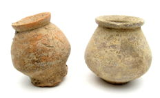 Pair of Roman Terracotta Small Legionary Jars - 52x62, 57x57mm (2)