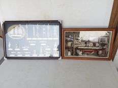 Various sailing knots and sailing boat in a glass display case - ca. 1985