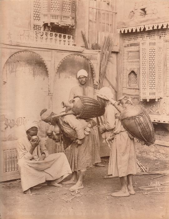 Félix Bonfils (1831-1885) - water-carriers in the streets of Cairo, Cairo, Egypt