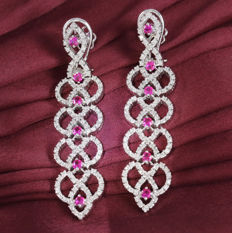 IGI Certified 14K White Gold Long Chandelier Diamond and Ruby earrings- 31.60 g - 4.77 ct. diamonds and 2.98 ct. Rubies - 70 mm x 15 mm