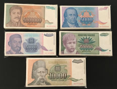 Yugoslavia - Lot 500 banknotes 1992, 1993 and 1994 - Pick 117,129, 130,132 and 141