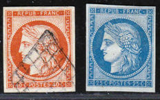 France 1850 - Selection including 1862 reprint - Yvert n° 4d and 5