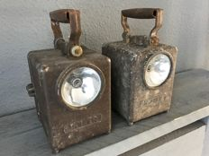 Two authentic railway signalling lamps, used by the SNCF