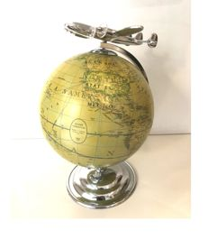 """Globe With Airplane """"Constellation"""" - Paper and Aluminium - End XX Century"""