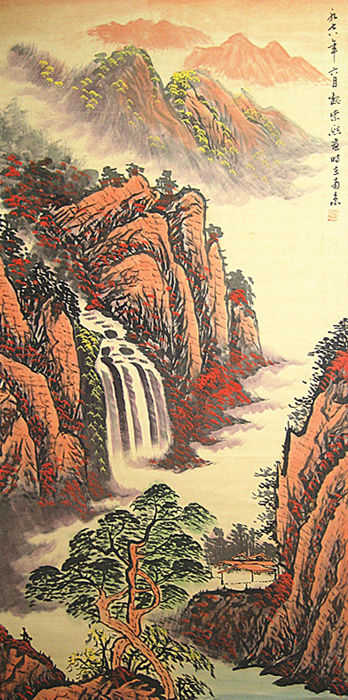 A hand painted scroll painting, made after Wei Zixi魏紫熙- China - late 20th century