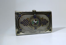 Dance card or holder in chiselled silver and enamel - 19th century