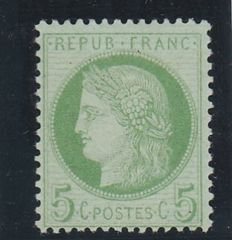 France 1872 - Céres Type issue -  5c bluish-greenish-yellow -  Yvert n° 53