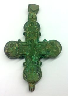 Large medieval reliquary cross (double cross) pendant with the image of Jesus Christ 93х55 mm