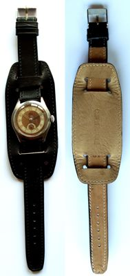 WW2- men's railway Military wristwatch - Burdet France - New glass and strap - dial champagne & gold- circa 1940