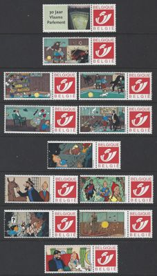 "Belgium – 35 Duostamp stamps, all with ""TINTIN"" theme, 10 of which in 2 booklets"