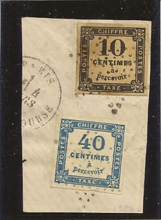 France 1871 - Postage due Yvert 2, 7 on paper fragment with expert's certificate