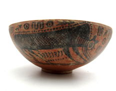 Indus Valley Painted Terracotta Bowl with Monkey Motif - 203x83mm