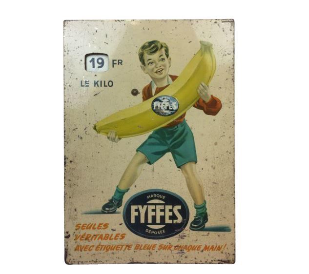 Rare tin price display of Fyffes - Ca. 1940 - 1960