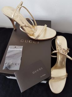 "Gucci – sandals, model Britt 95 – gold leather – beautiful – ""no reserve price"""