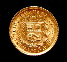 Peru - 1/5 pounds year 1917 struck in Lima - Gold