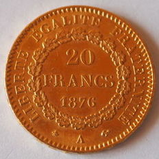 France - 20 Francs 1876 'Genius' - Gold