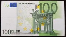 European Union - AUSTRIA - 100 Euro 2002 - DRAGI - White Box  without HOLOGRAM  -  ERROR  note