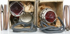 Two Acetylene bicycle tail lights VITA - by G H - in brass with chrome - 1930s