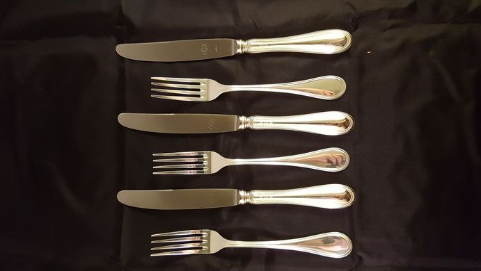 Set of 3 table forks and 3 table knives in silver 800/1000 - Rino Greggio, Vicenza