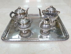 Griñón y Sellán - coffee and tea service in silver - Spain - circa 1860 - with tray by Aldao Joyeros - 19th century