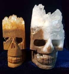 Two  finely hand carved crystal cluster of skulls - 62 to 82  mm - 743 g (2)